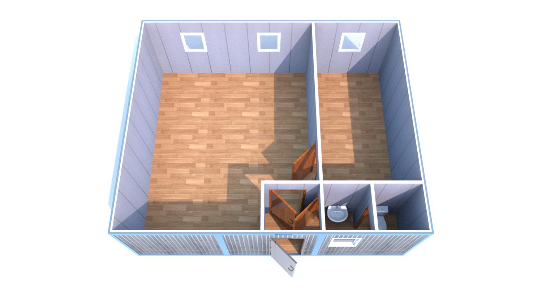 Блок-Модуль (Д.,Ш.,В.) 6,0*7,2*2,5м., состоящий из 3 блок-контейнеров 6,0*2,4*2,5м